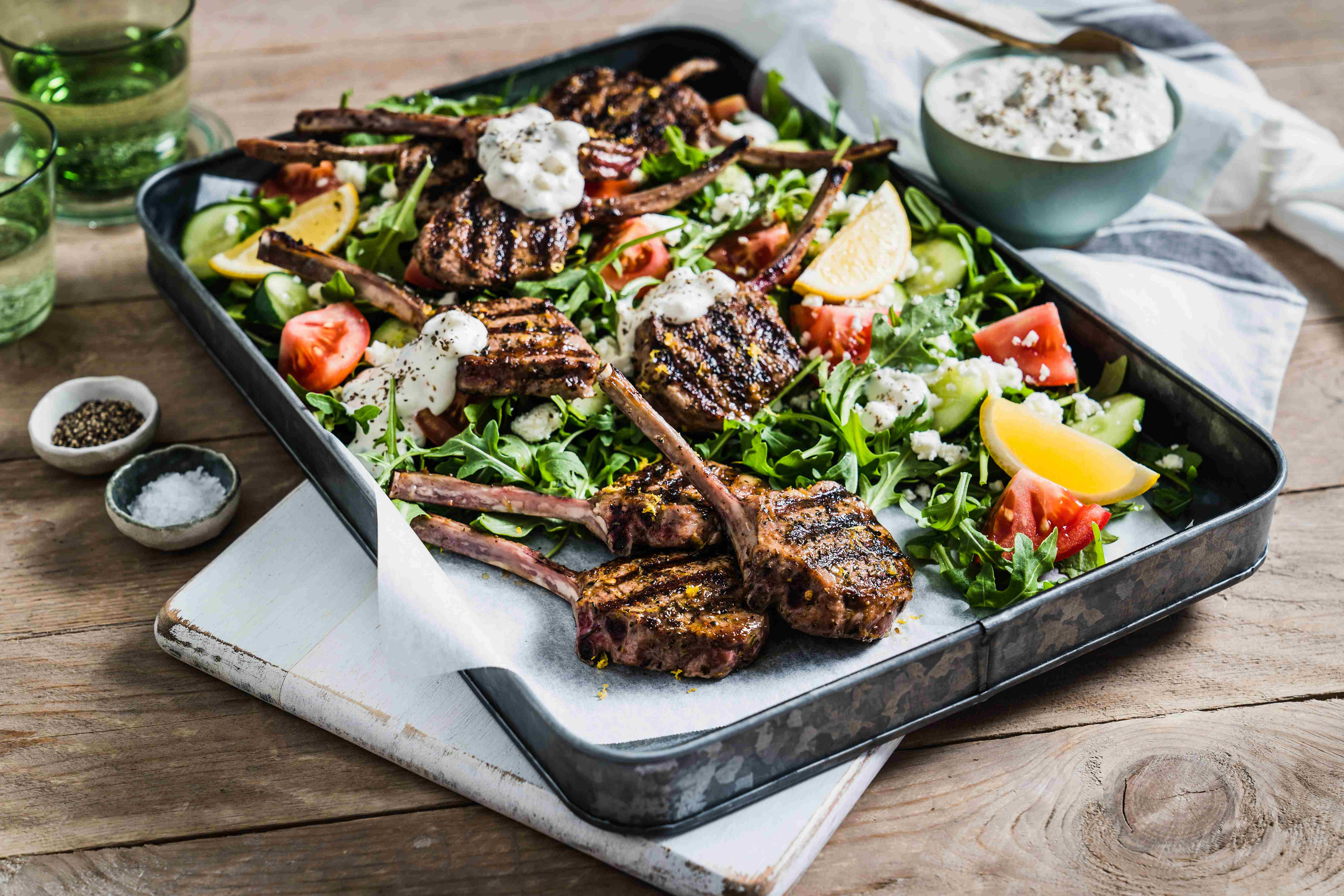 Marinated Lamb French Cutlets & Greek Style Salad